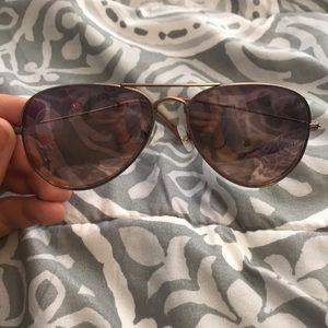 Pink aviator style sunglasses